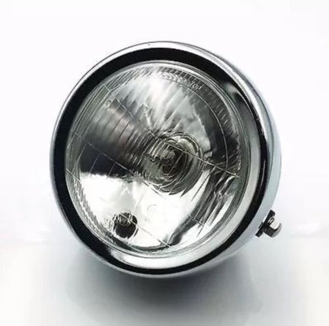 New 6 Inch Chrome Motorcycle Side Mount Headlight Round Cafe Racer Bobber Light, Headlight Assemblies - Cafe Racer Parts UK
