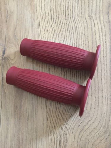 "Cafe Racer Motorcycle Bike Red Rubber Vintage 7/8"" Handlebar Grips, Grips - Cafe Racer Parts UK"