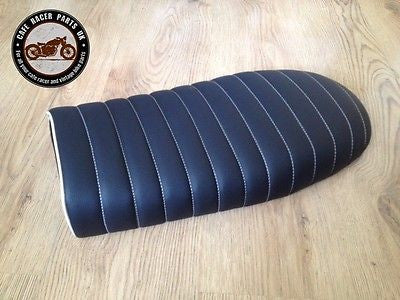 BLACK LEATHER LOOK FLAT CAFE RACER SEAT BRAT STYLE +MULTI FIT BRACKETS * PROJECT, Seats & Seat Covers - Cafe Racer Parts UK
