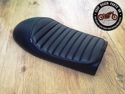 BLACK LEATHER LOOK CAFE RACER SEAT WITH MULTI FIT BRACKETS *  PROJECT KIT, Seats & Seat Covers - Cafe Racer Parts UK