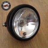 New 6 Inch Black Motorcycle Side Mount Headlight Round Halogen Cafe Racer Bobber, Headlight Assemblies - Cafe Racer Parts UK
