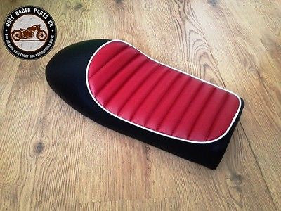 BLACK + RED WHITE LEATHER LOOK CAFE RACER SEAT + MULTI FIT BRACKETS *PROJECT KIT, Seats & Seat Covers - Cafe Racer Parts UK
