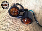 Pair Of Cafe Racer Motorcycle Bike Black Metal Turn Signals Indicator Lights, Other Lighting & Indicators - Cafe Racer Parts UK