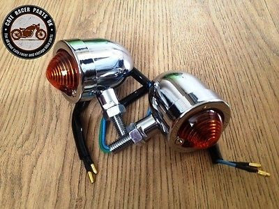 Pair Of Cafe Racer Motorcycle Bike Chrome Metal Turn Signals Indicator Lights, Other Lighting & Indicators - Cafe Racer Parts UK