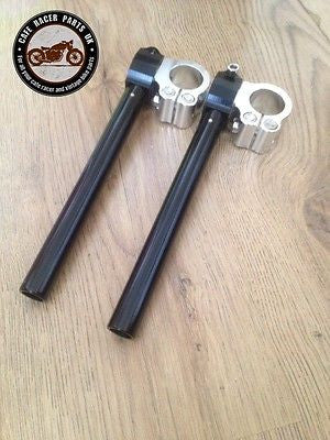CAFE RACER 50mm MOTORBIKE CLIP ON FORK HANDLEBAR UNIVERSAL FIT HIGH QUALITY CNC, Handlebars - Cafe Racer Parts UK
