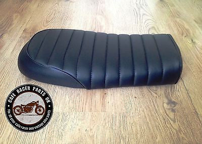 black leather look cafe racer seat brat style +multi fit brackets
