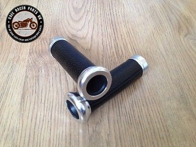 "Cafe Racer Motorcycle Black Leather Look 7/8"" Handlebar Grips With Chrome Ends, Grips - Cafe Racer Parts UK"