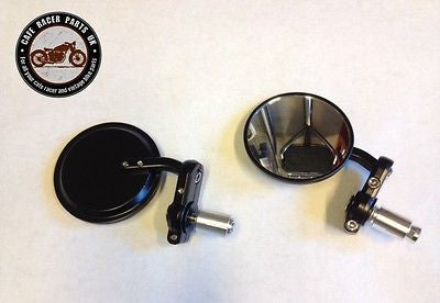 "2 x 3"" (8cm) Round Bar End Cafe Racer Mirrors for Cafe Racer Project kit, Other Motorcycle Parts - Cafe Racer Parts UK"