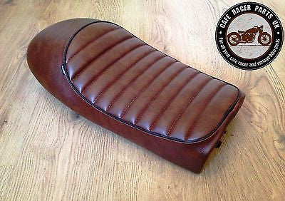 BROWN LEATHER LOOK CAFE RACER SEAT WITH MULTI FIT BRACKETS, Seats & Seat Covers - Cafe Racer Parts UK