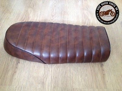 BROWN FLAT STYLE LEATHER LOOK CAFE RACER SEAT +MULTI FIT BRACKETS *  PROJECT KIT, Seats & Seat Covers - Cafe Racer Parts UK