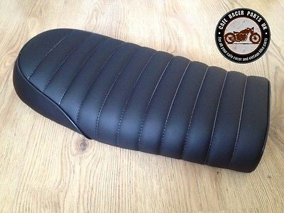 BLACK LEATHER LOOK CAFE RACER SEAT BRAT STYLE +MULTI FIT BRACKETS *  PROJECT KIT, Seats & Seat Covers - Cafe Racer Parts UK