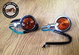Pair Of Cafe Racer Motorcycle Bike Chrome Metal Turn Signals Indicator Lights - Cafe Racer Parts UK  - 2