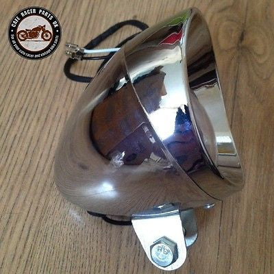 Classic Hooded headlight Custom Small LED Bottom Mount Cafe Racer Bobber Chopper, Headlight Assemblies - Cafe Racer Parts UK