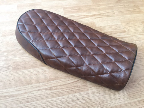 BROWN FLAT CHEQUERED STYLE LEATHER LOOK CAFE RACER SEAT, Seats & Seat Covers - Cafe Racer Parts UK
