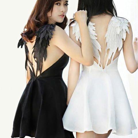 Angel Wings Embroidered Sexy Dress