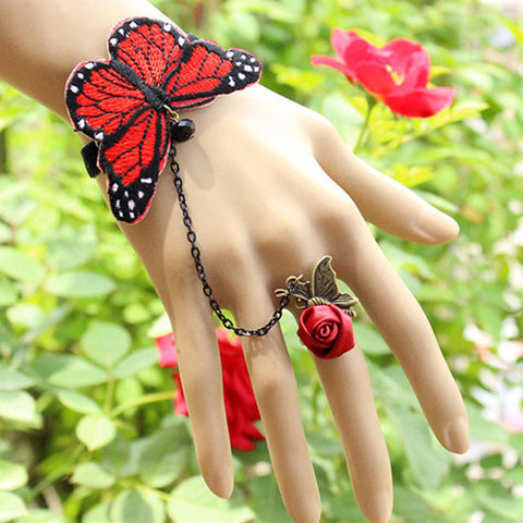 Lolita Butterfly Bracelet with Rose Ring
