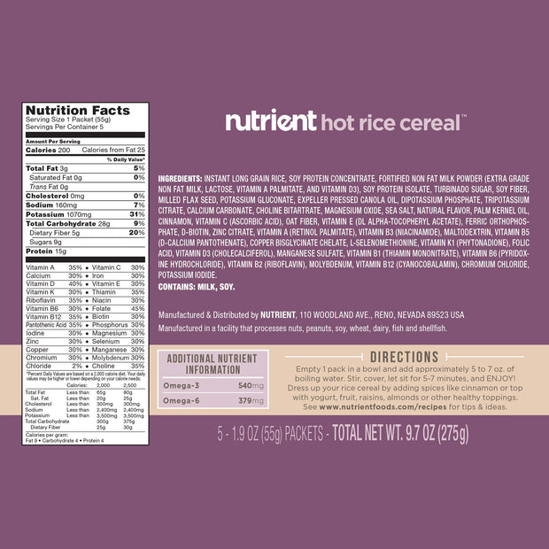 Hot Rice Cereal-Bold-Nutrient-5 Pack-Nutrient