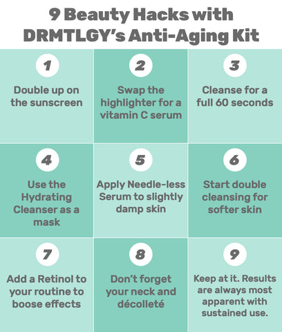 9 Beauty Hacks with DRMTLGY's Anti-Aging Kit