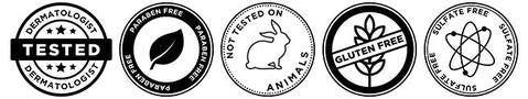 Dermatologist tested, paraben free, not tested on animals, gluten free, sulfate free