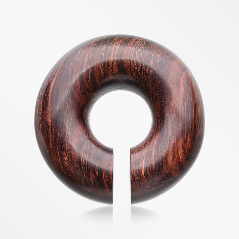 A Pair Of Dark Tamarind Wood Hoop Hanger Plug