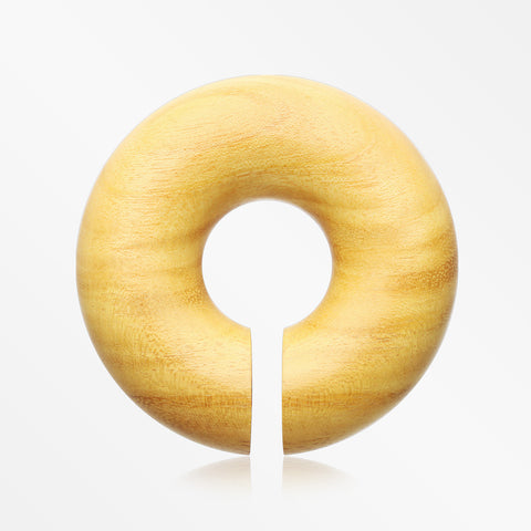 A Pair of Jackfruit Wood Hoop Hanger Plug-Yellow