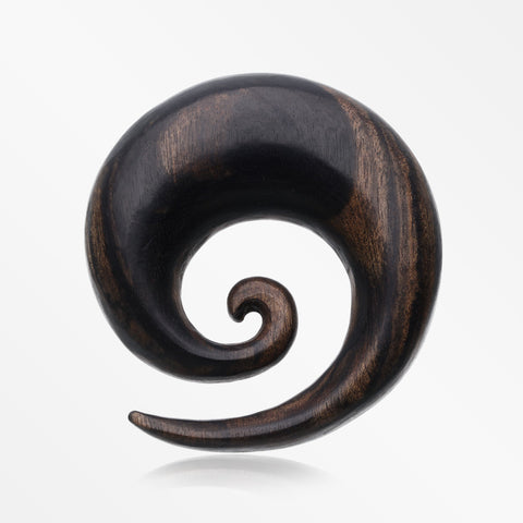 A Pair of Tiger Ebony Wood Spiral Hanger Plug-Black
