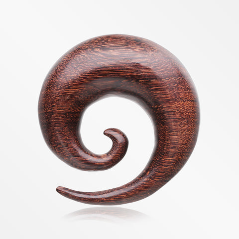 A Pair Of Dark Tamarind Wood Spiral Hanger Plug