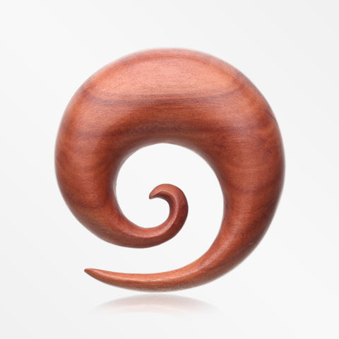 A Pair of Sabo Wood Spiral Hanger Plug-Orange/Brown