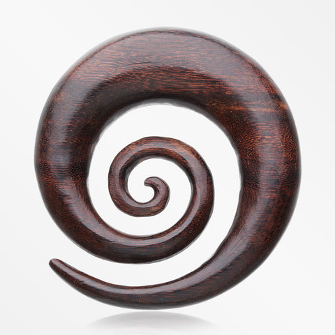A Pair of Dark Tamarind Wood Super Spiral Hanger Plug