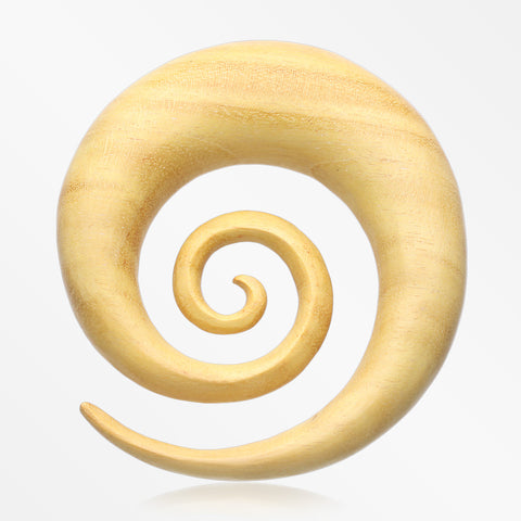 A Pair of Jackfruit Wood Super Spiral Hanger Plug-Yellow