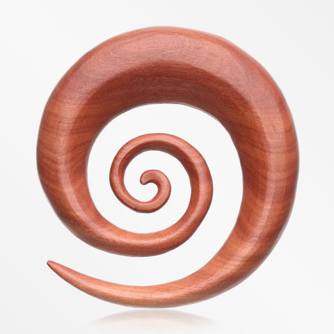A Pair of Sabo Wood Super Spiral Hanger Plug-Orange/Brown