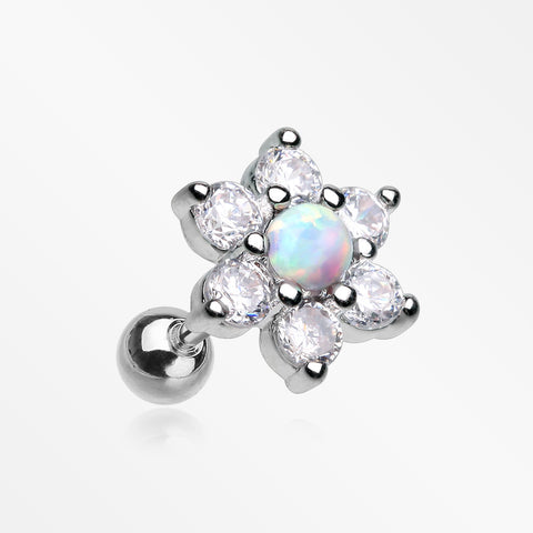 Spring Flower Multi-Gem Fire Opal Sparkle Cartilage Tragus Barbell-Clear/White