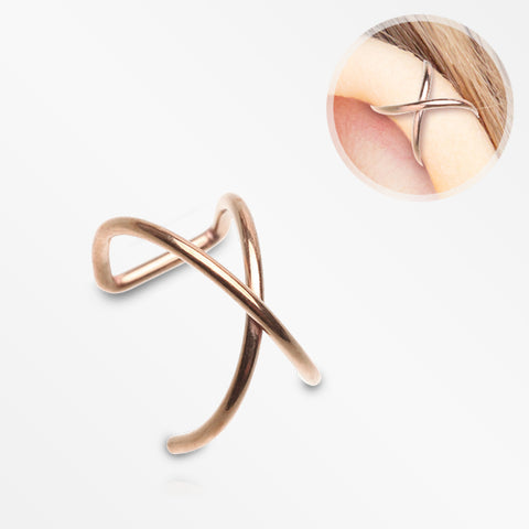 Rose Gold Simple Cross Loop Steel Non-Piercing Cartilage Helix Ear Clip