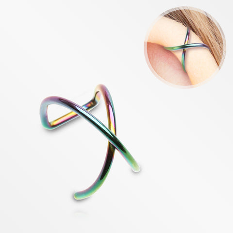 Colorline Simple Cross Loop Steel Non-Piercing Cartilage Helix Ear Clip