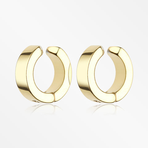 A Pair of Golden Steel Non-Piercing Snap Clip Hoop Earring