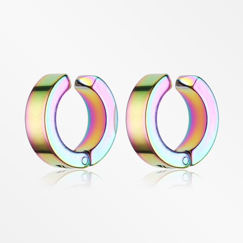 A Pair of Colorline Steel Non-Piercing Snap Clip Hoop Earring