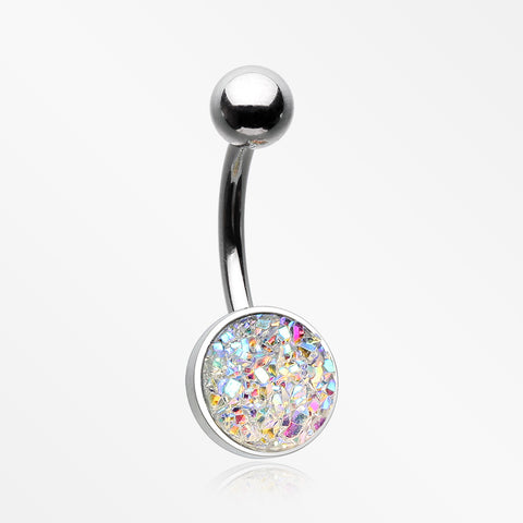 Iridescent Druzy Sparkle Steel Belly Button Ring-Aurora Borealis
