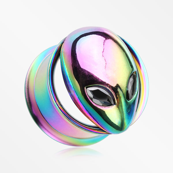 A Pair of Alien Head Sparkle Eyes Screw-Fit Tunnel Plug-Rainbow