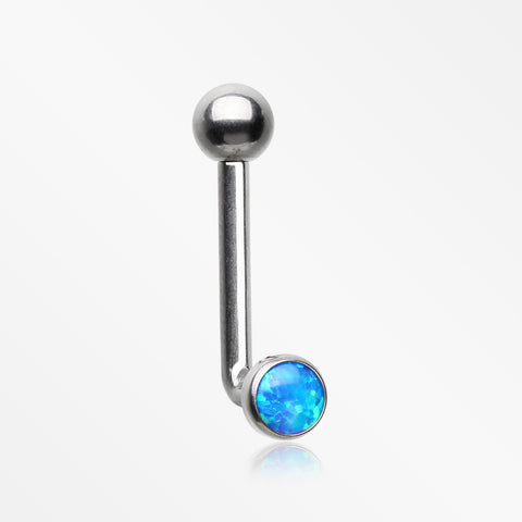 Implant Titanium Fire Opal Sparkle Internally Threaded VCH Bent Barbell-Blue