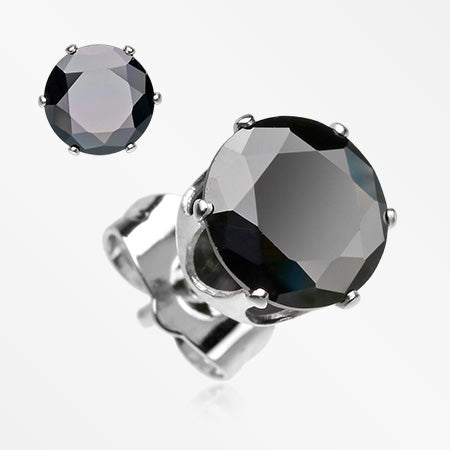 A Pair of Brilliant Sparkle Round CZ Stud Earrings-Black