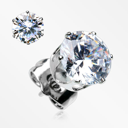 A Pair of Brilliant Sparkle Round CZ Stud Earrings-Clear