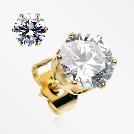 A Pair of Golden Brilliant Sparkle Round CZ Stud Earrings-Clear