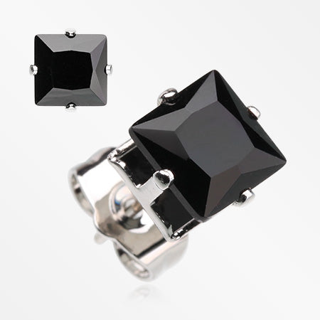 A Pair of Brilliant Sparkle Square CZ Stud Earrings-Black