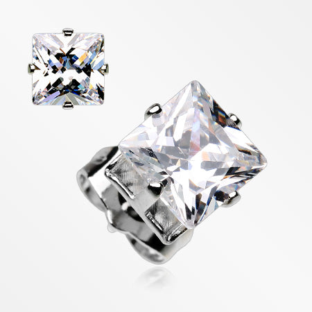 A Pair of Brilliant Sparkle Square CZ Stud Earrings-Clear