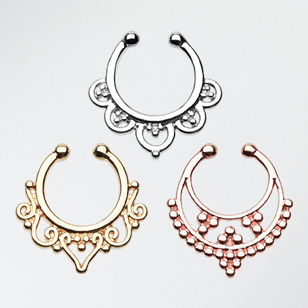 3 Pcs of Popular Elegant Fake Septum Pack-Rainbow/Multi-Color