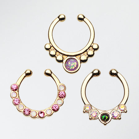 3 Pcs of Golden Opal Fake Septum Pack-Gold