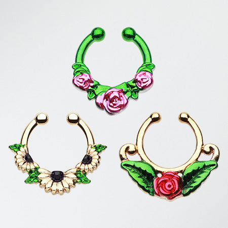 3 Pcs of Flower Lovers Fake Septum Pack-Rainbow/Multi-Color