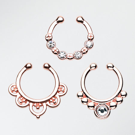 3 Pcs of Rose Gold Essential Fake Septum Pack-Rose Gold