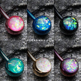 6 Pcs of Opal Sparkle Colorline Belly Ring Pack-Rainbow/Multi-Color