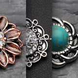 3 Pcs of Vintage Non Dangle Belly Ring Pack-Rainbow/Multi-Color